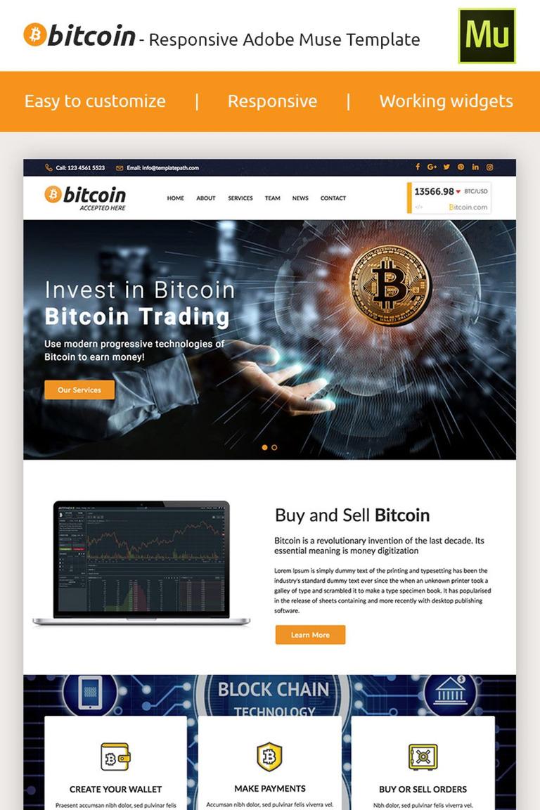 Bitcoin - Premium Crypto Adobe CC 2017 Muse Template #66871