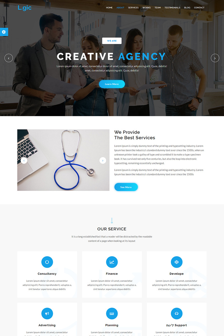 Logic - Material Design Agency Website Template #67579