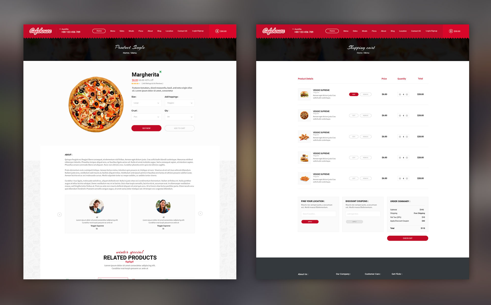 Cafehouse Food Online Ordering Ecommerce Psd Template 66994