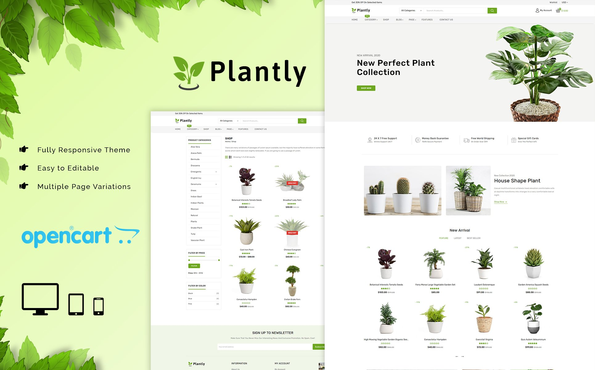 Plantly - Plants And Nursery OpenCart Template