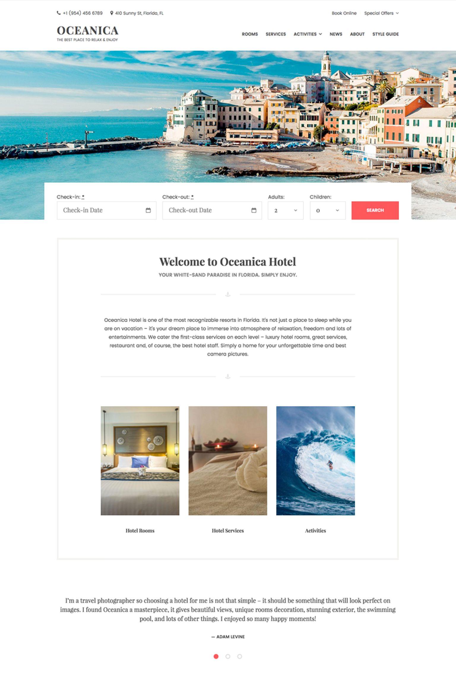 Шаблон сайта на тему отели #64367