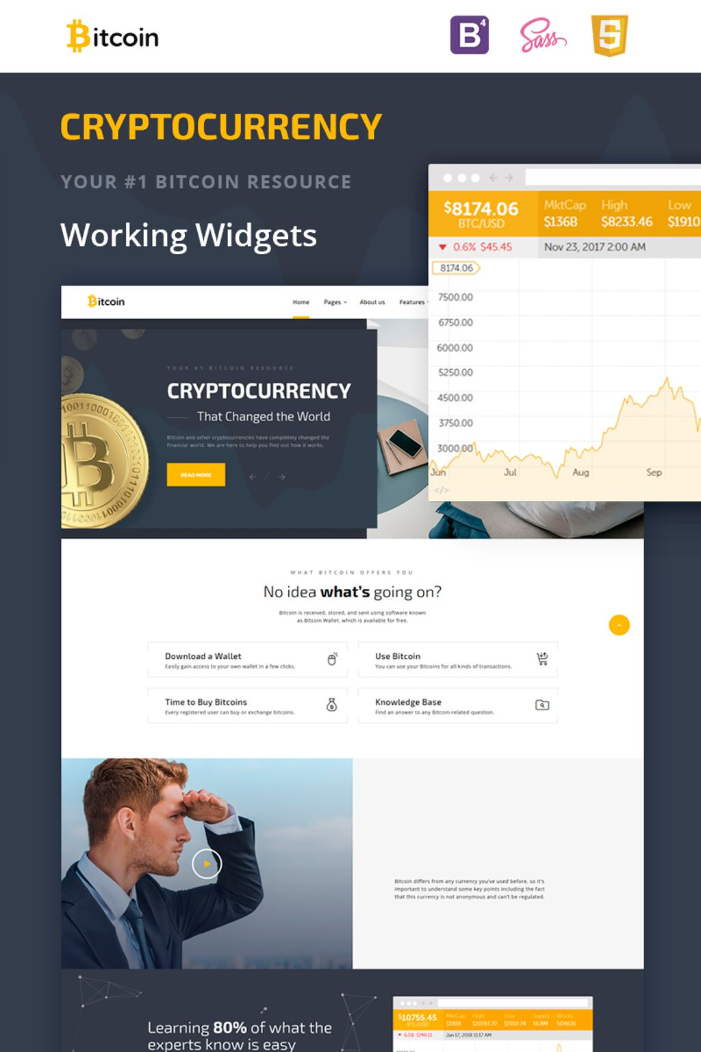 Bitcoin Cryptocurrency Website Template