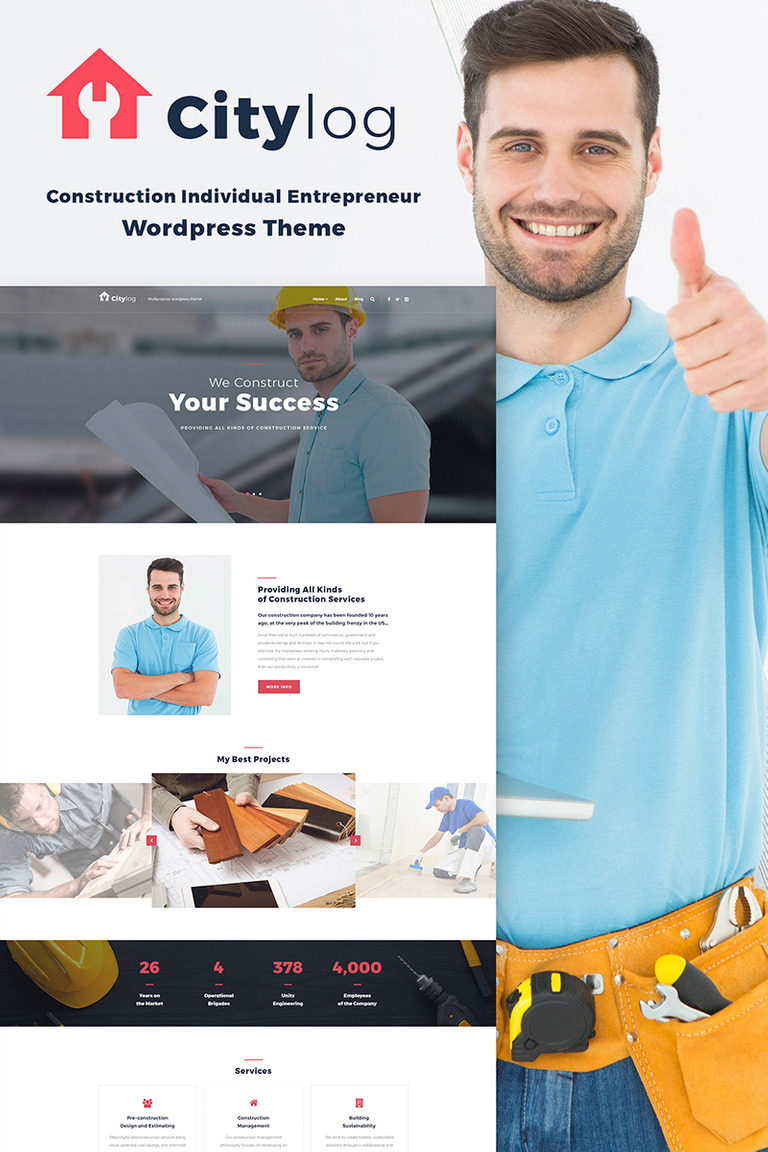 Citylog - Construction Responsive WordPress Theme New Screenshots BIG
