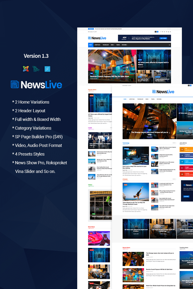 Newslive Responsive News Magazine Joomla Template 65707