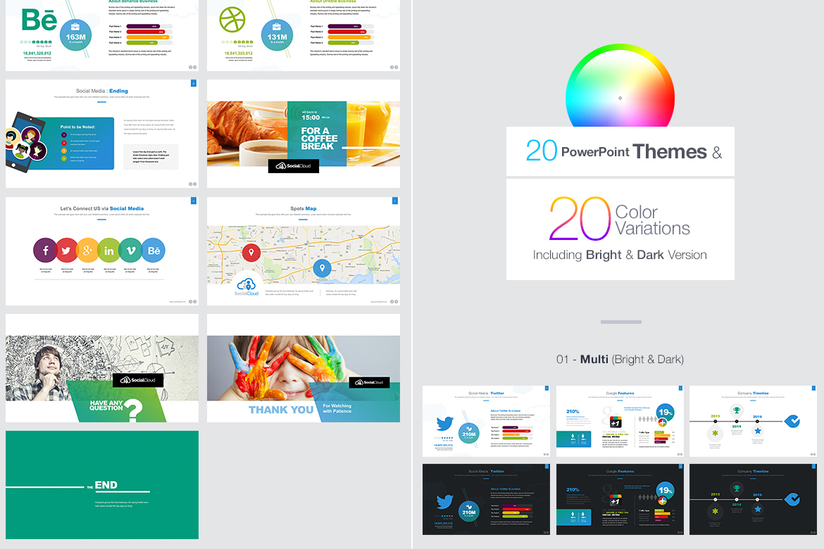 Social Media PowerPoint Template #66967