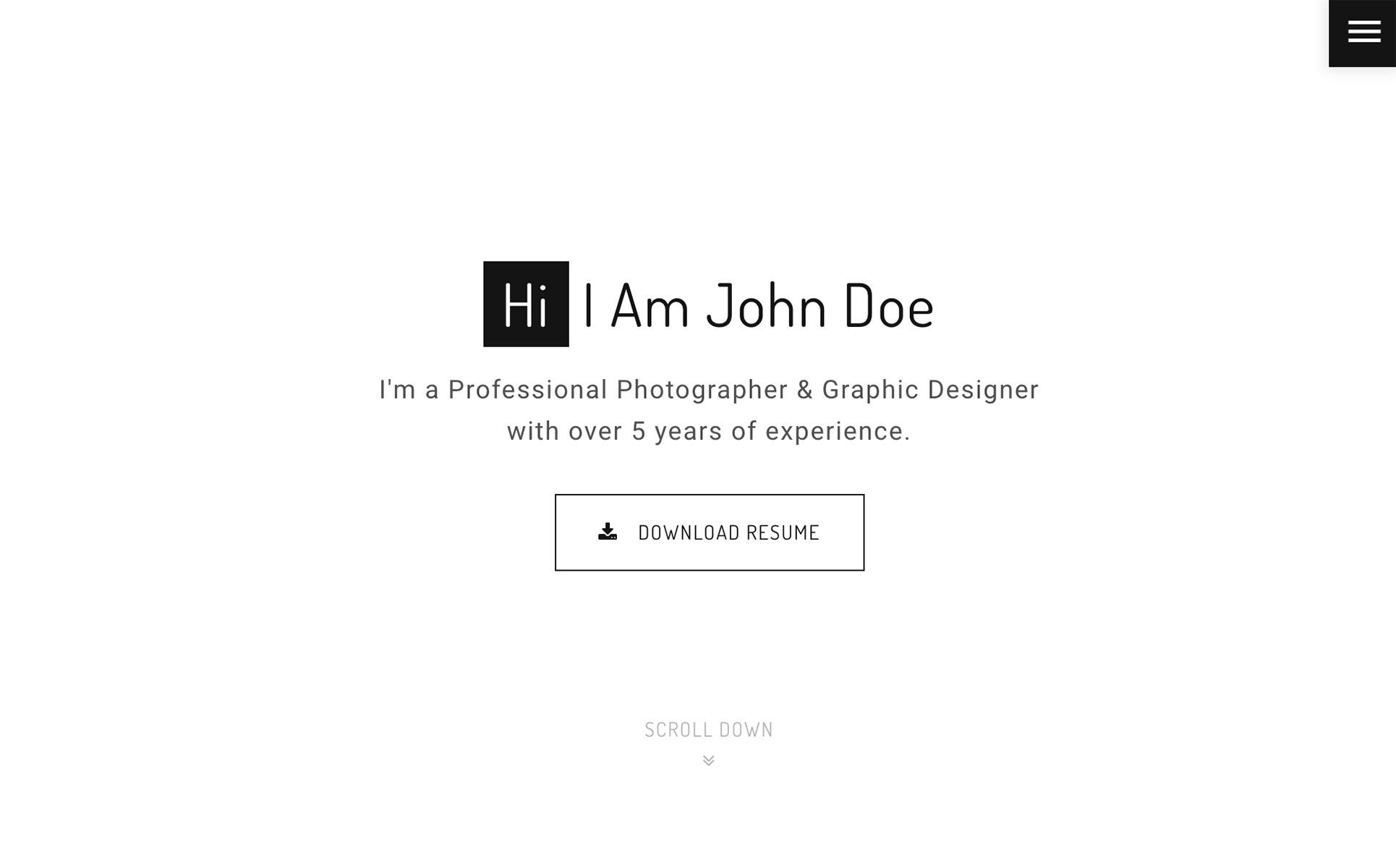 John Doe - Photography HTML Website Template #64749