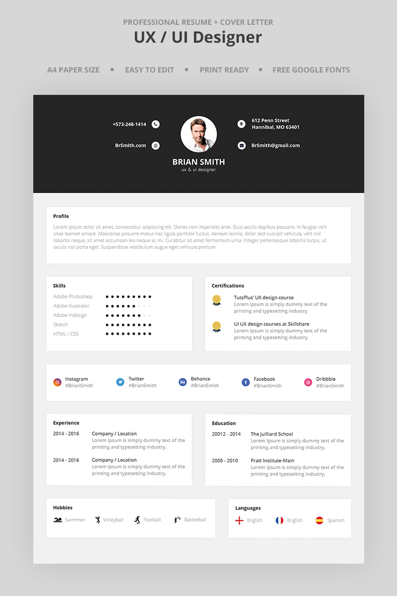 Brian Smith  UxUi Designer Resume Template