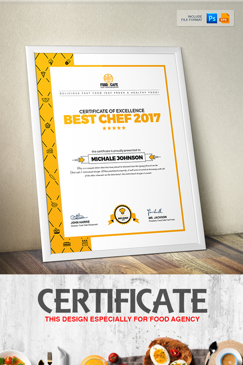 Certificate design template for best chef fast food and restaurant zoom in alramifo Image collections