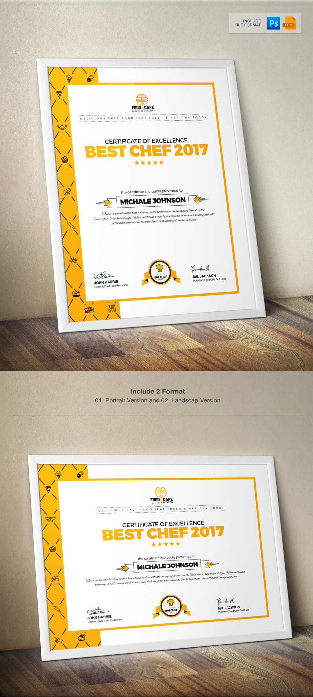 best chef certificate template images certificate design