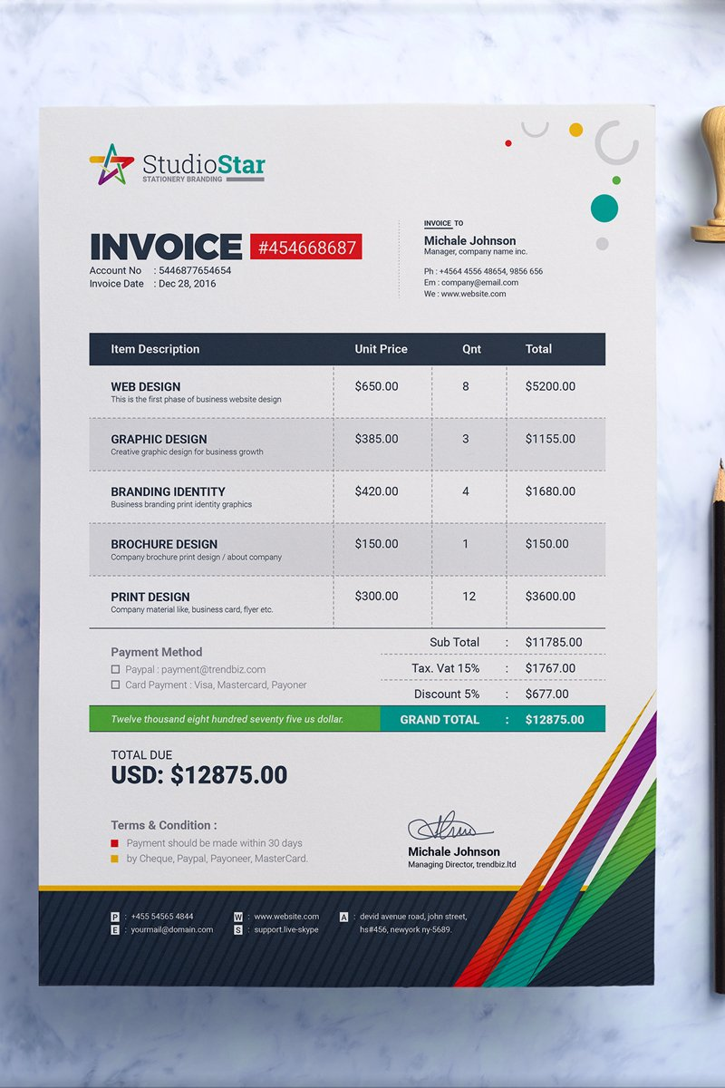 Invoice Bill Cash Memo Template MS Word EPS And PSD Invoice - Corporate invoice template