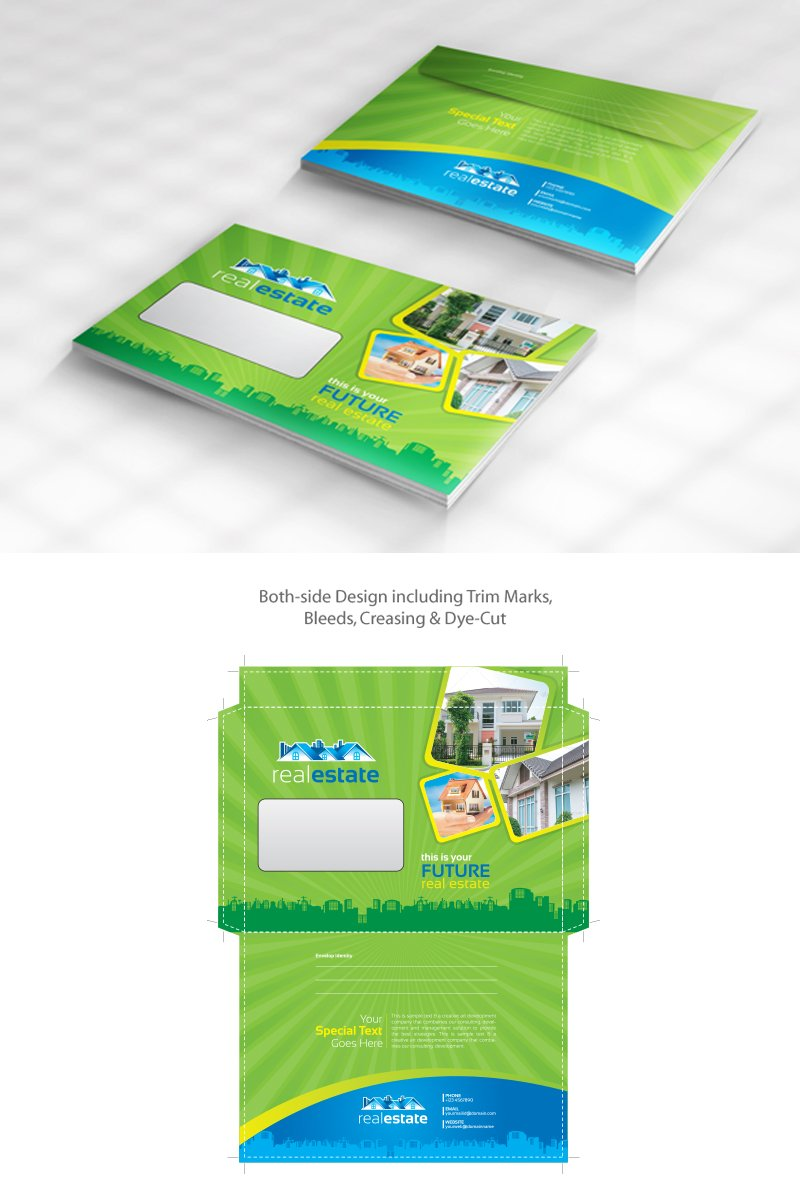 Real Estate Envelope Design Pack Official Size And Commercial Size