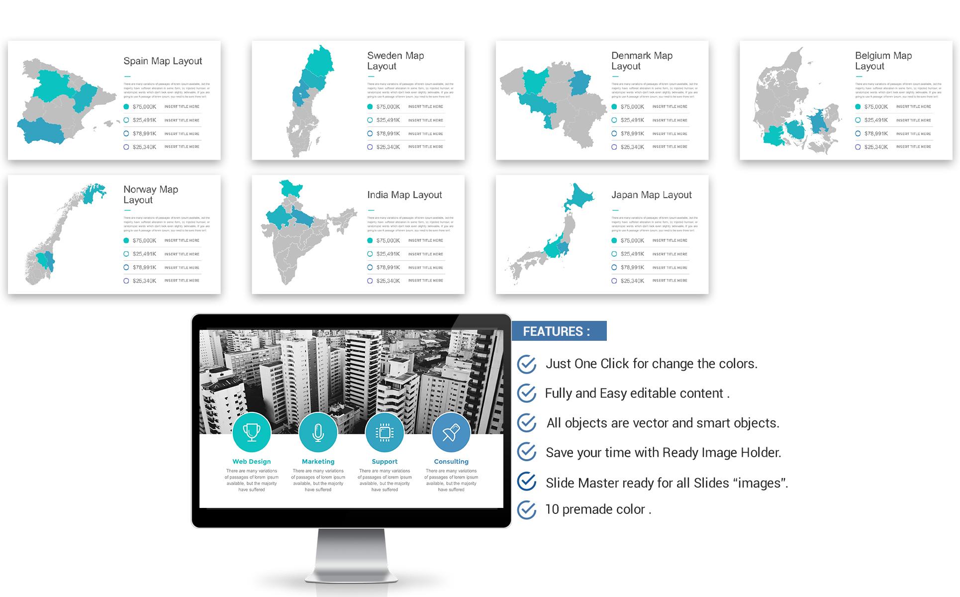 Plantilla PowerPoint #67023 para Sitio de Sociedades gestoras