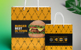 Shopping Bag Design Template for Fast Food and Restaurant Company | Include 4 Size Bag Design Corporate Identity Template