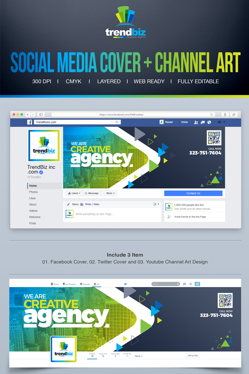 Social Media Cover For Corporate Business Facebook Timeline Twitter You Channel Art