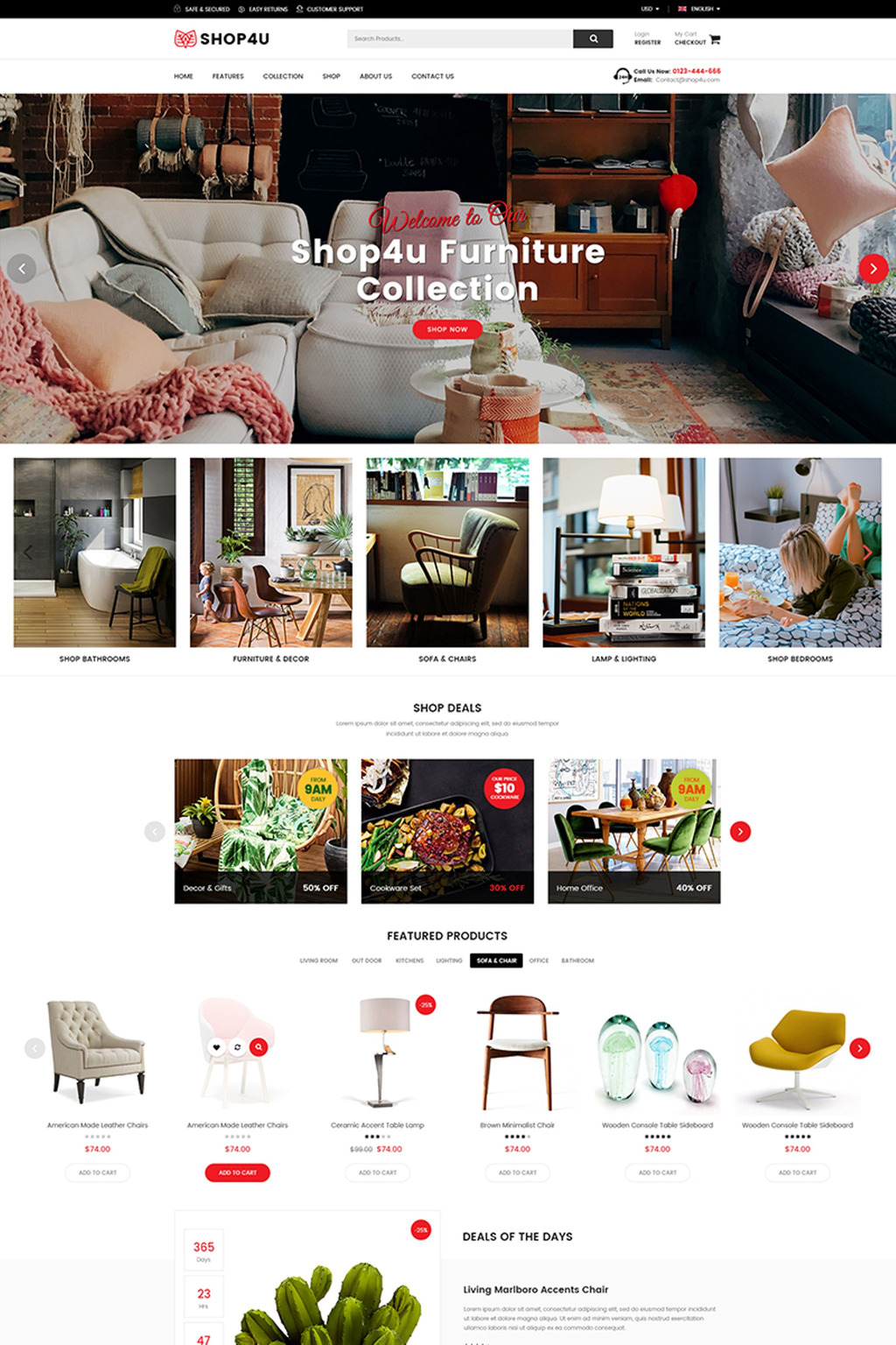 Shop4U - Furniture Responsive Magento Theme Big Screenshot