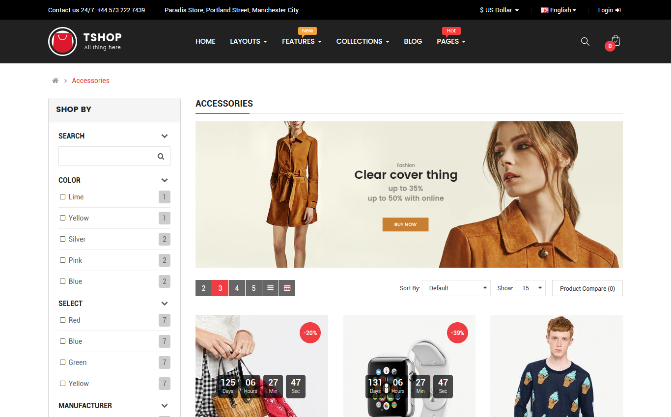 TShop - Fashion Shop OpenCart Template #67074