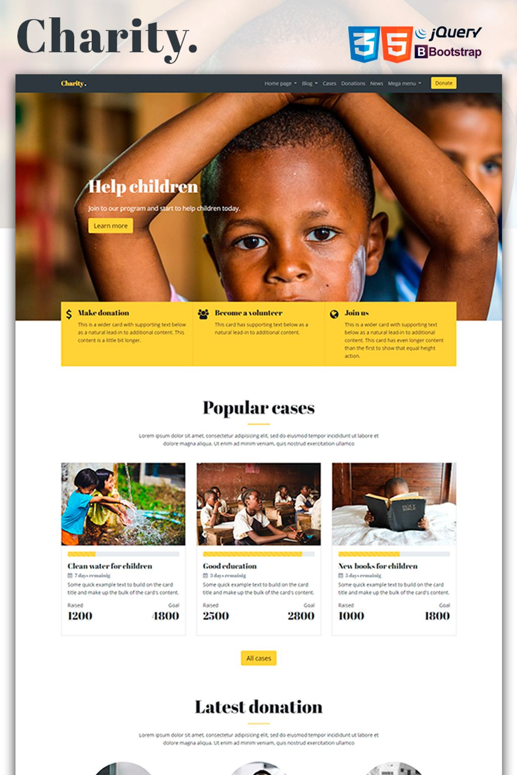 mercury charity nonprofit website template 67183