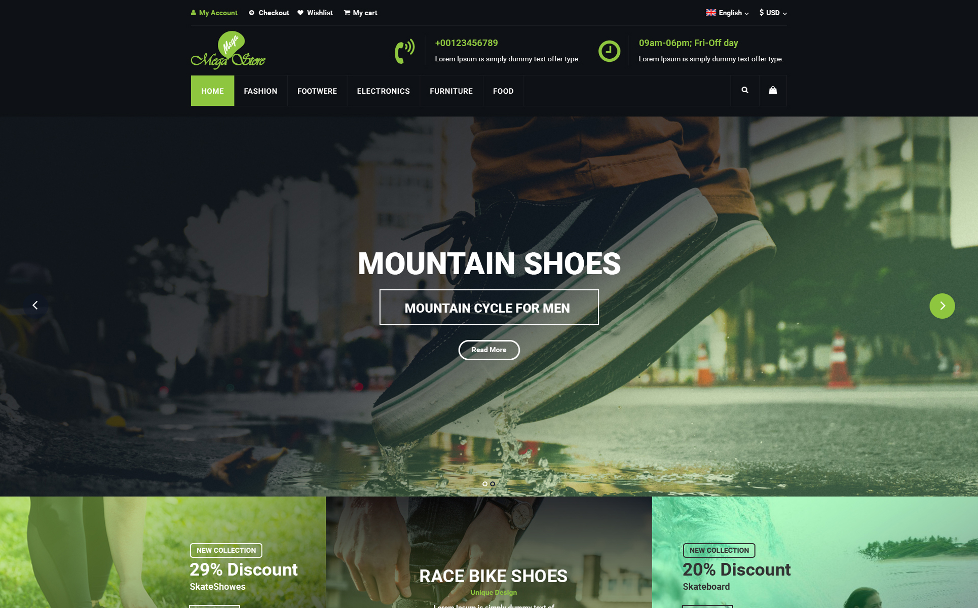 Mega Store E Commerce Online Shop Psd Template 68091