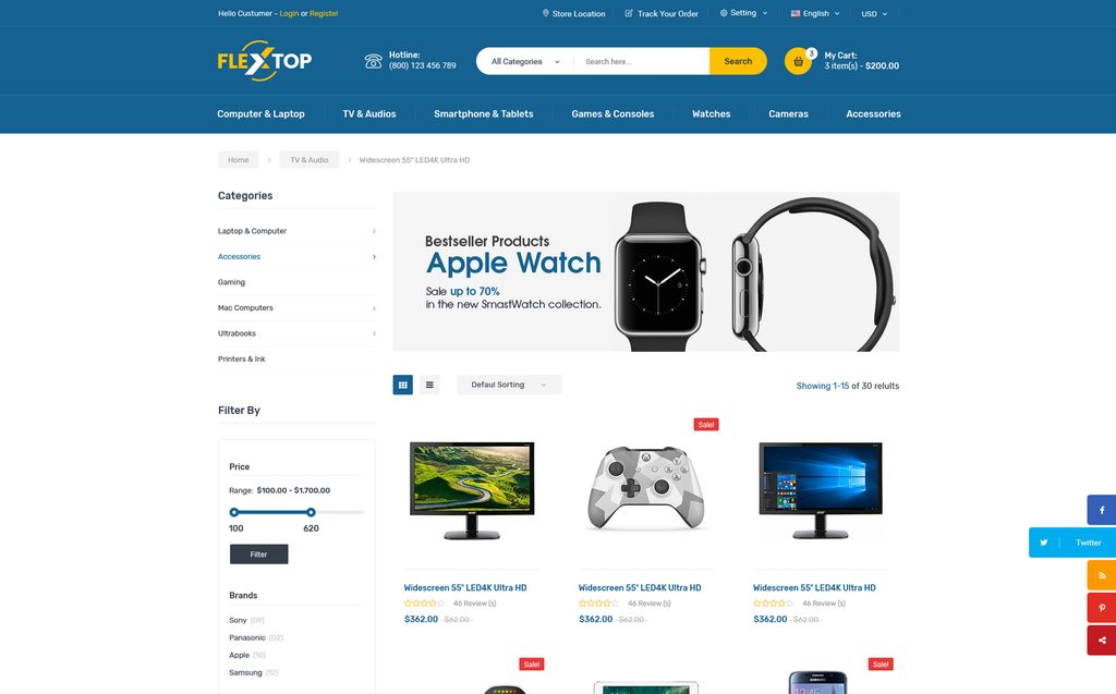 Flextop ECommerce Website Template - Buy ecommerce website templates