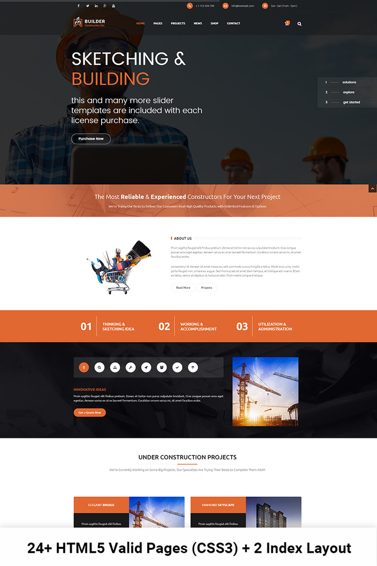 Website Vorlage #67401 für Baufirma