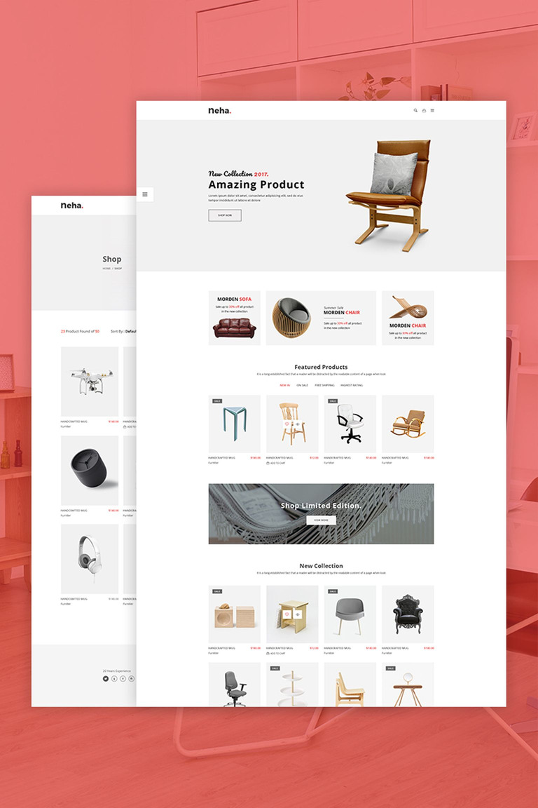 Neha Responsive Multipurpose Ecommerce Website Template 67271
