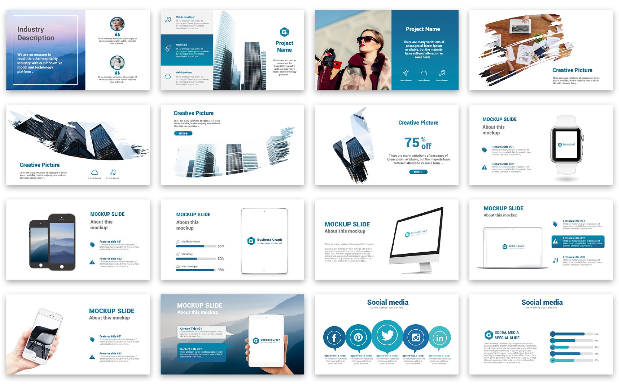 business graph presentation powerpoint template 67383