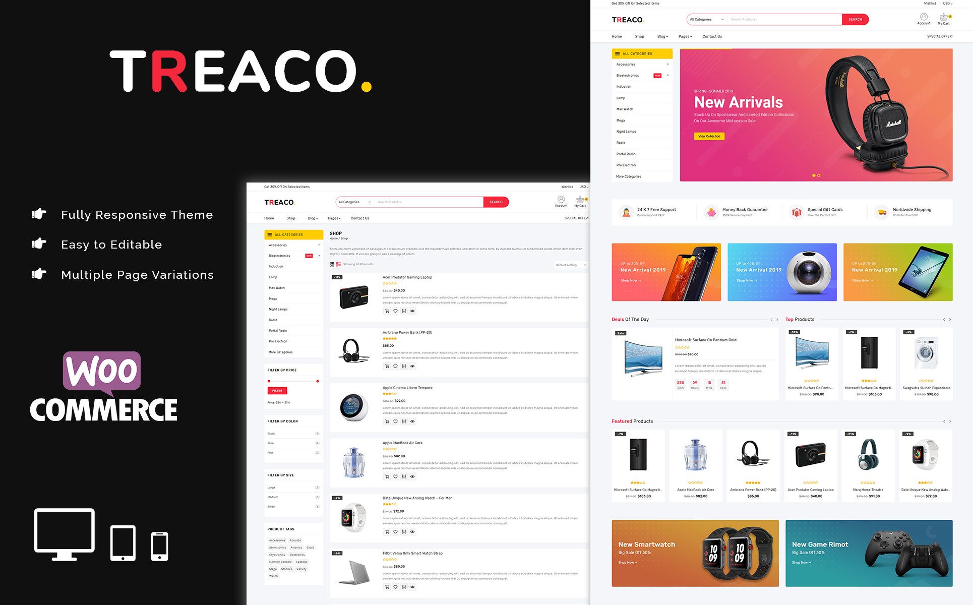 Treaco - Electronic Multipurpose Store PrestaShop Theme