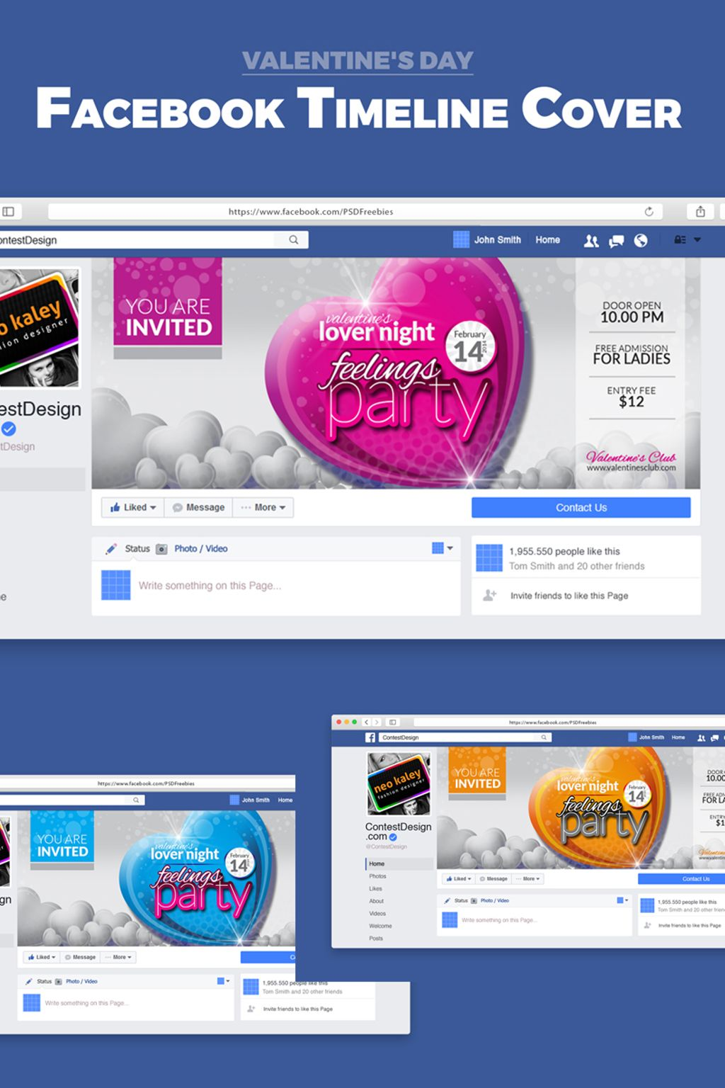 Valentine Party Event Night Club Facebook Timeline Cover Social