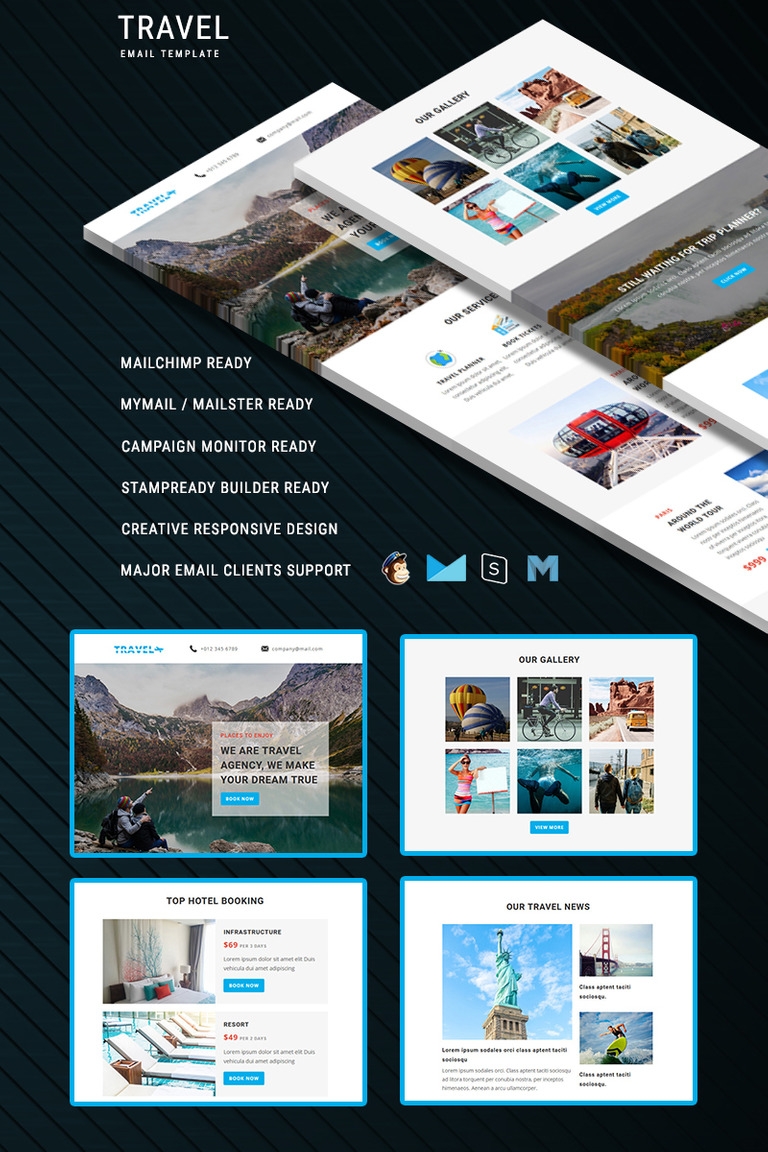 Travel Responsive Email Newsletter Template - How to make email newsletter templates