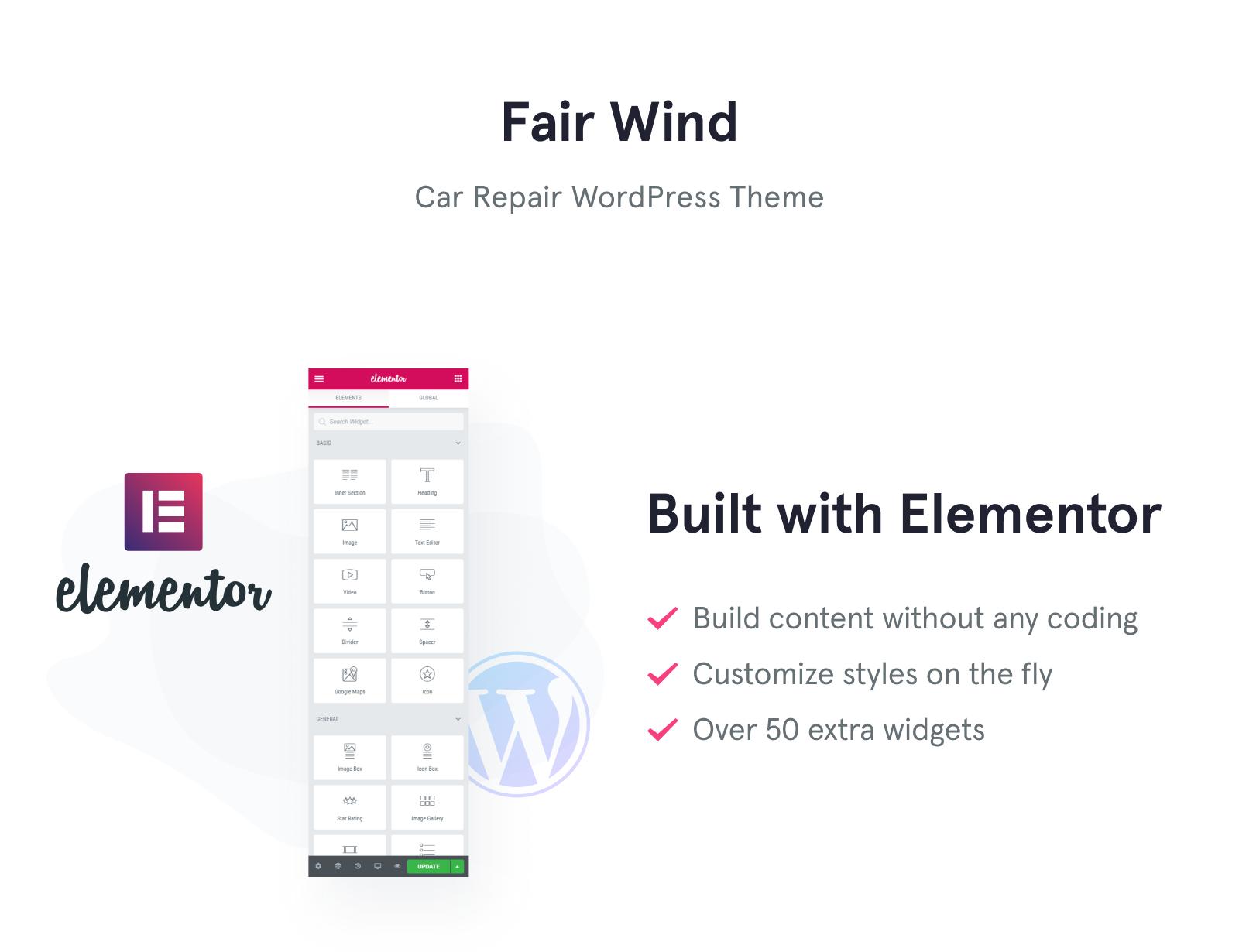 Fair Wind - Car Repair Modern Elementor WordPress Theme