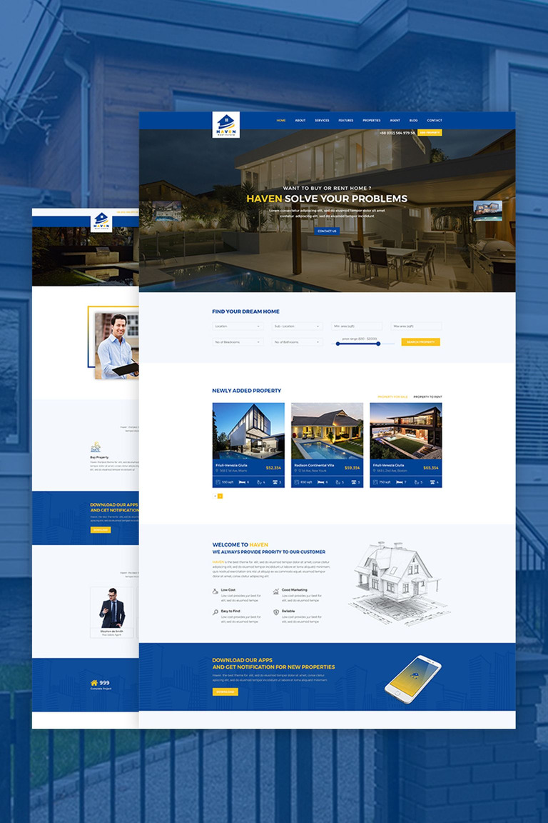 Haven Real Estate Website Template 67385