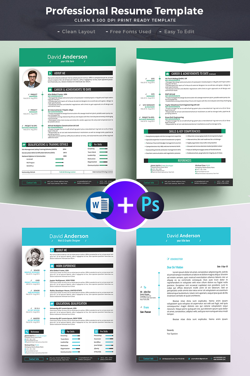 David Anderson CV   Professional MS Word Format Resume Template Big  Screenshot
