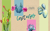 Wildflower Cactus Watercolor - Bundle