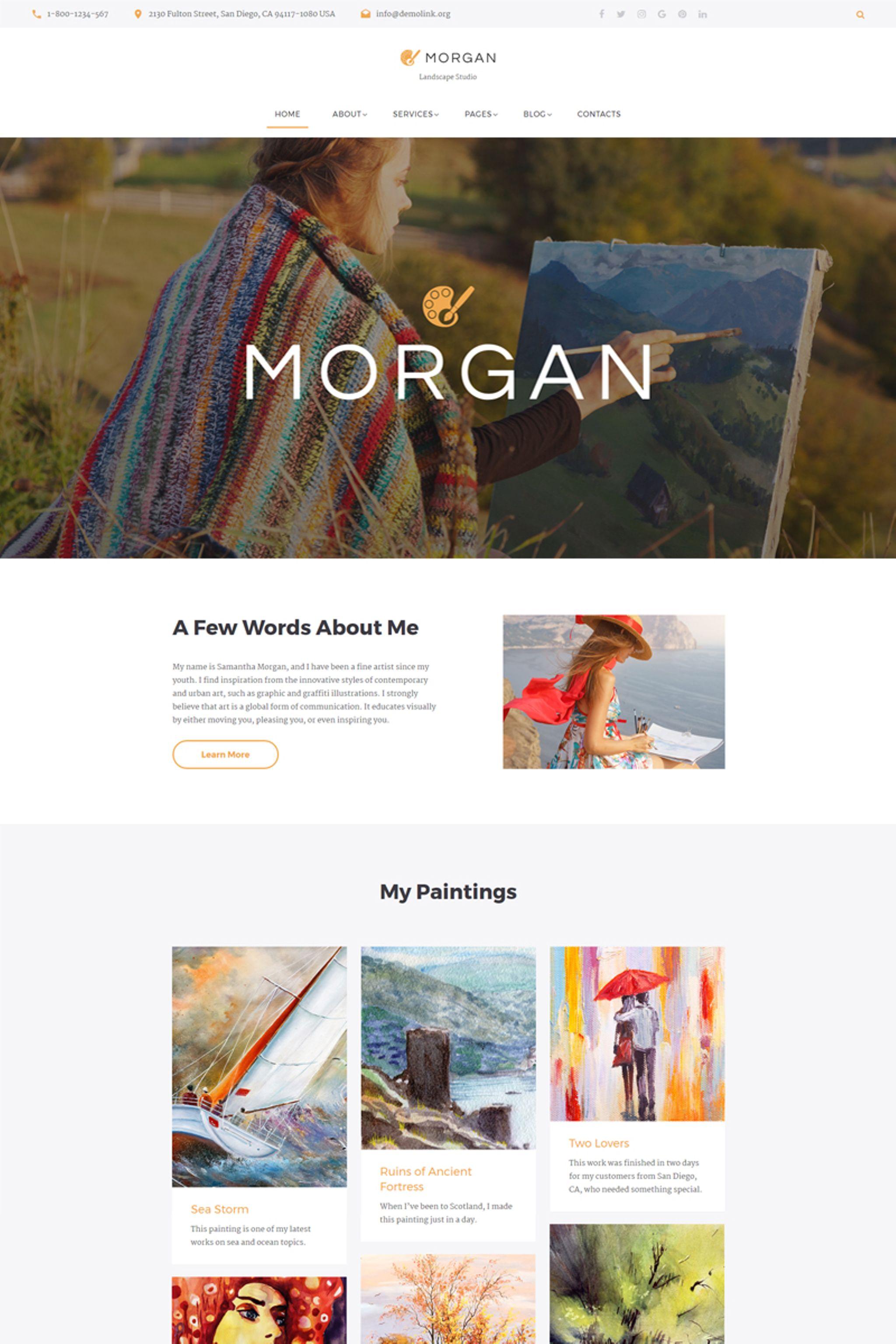 morgan artist portfolio multipage html5 website template 67197. Black Bedroom Furniture Sets. Home Design Ideas
