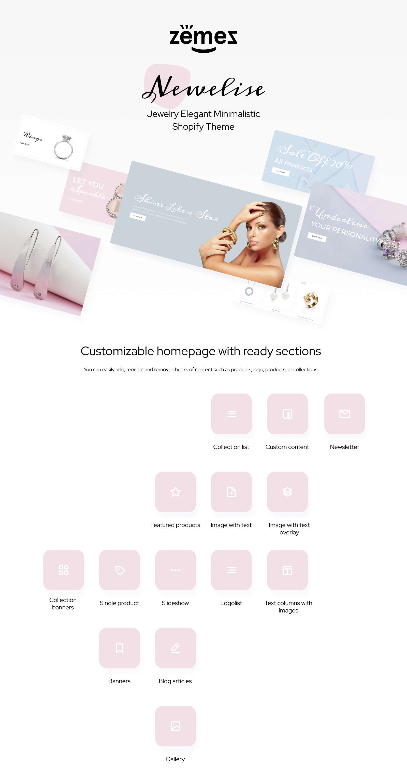 Newelise - Jewelry Elegant Minimalistic Shopify Theme