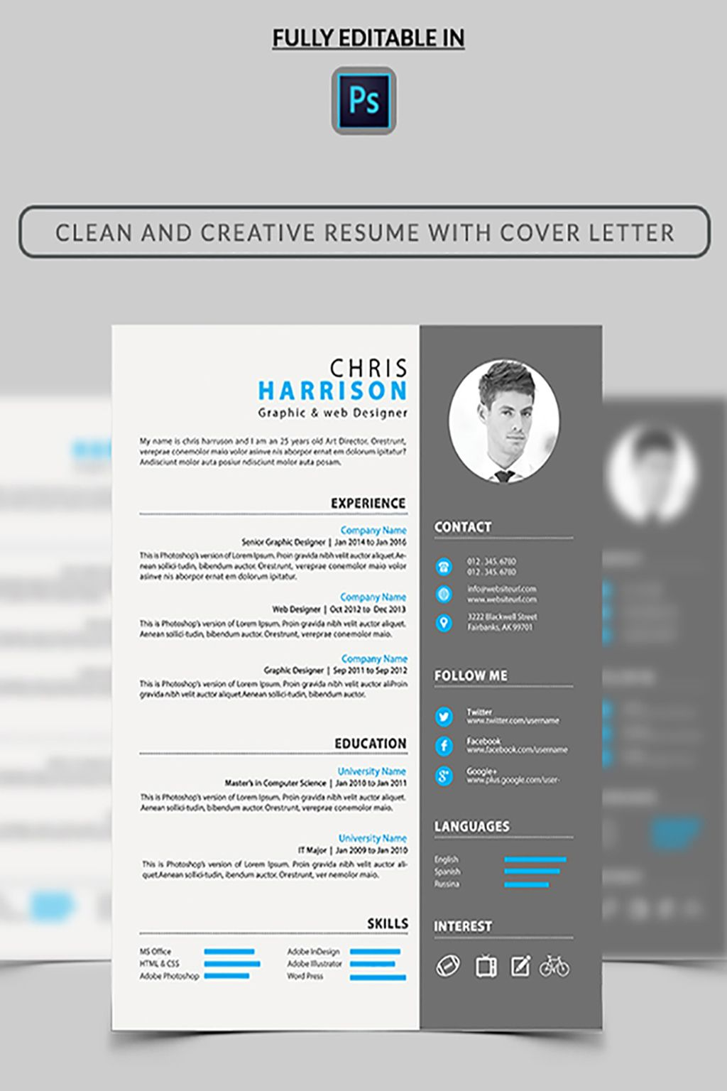 Web Designer Resume Template Big Screenshot  Resume Website Design
