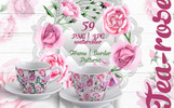 Tea-Rose PNG Watercolor - Bundle