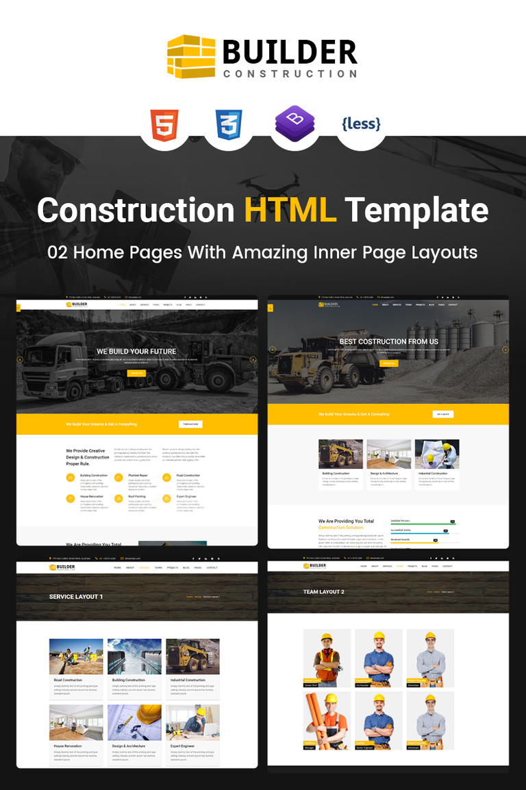 Builder Construction Company HTML Website Template - Website template builder
