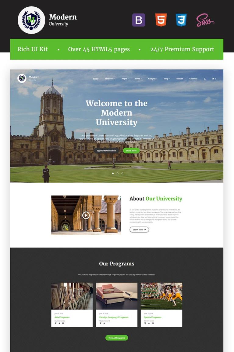 Multipage university html template modern university university or high school multipage responsive html website template new screenshots big maxwellsz