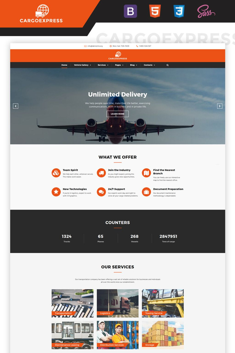 Cargo Express - Delivery Services Multipage HTML5 Website Template