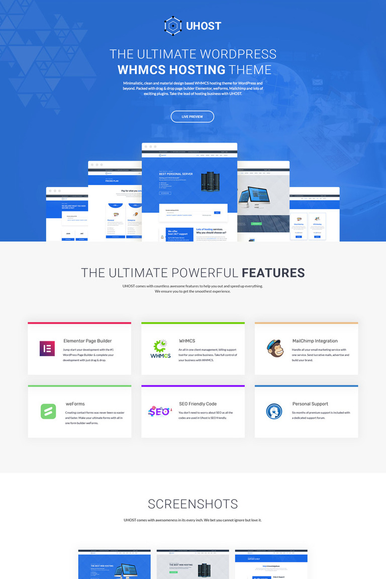 uHost - Web Hosting with WHMCS Support WordPress Theme #67712