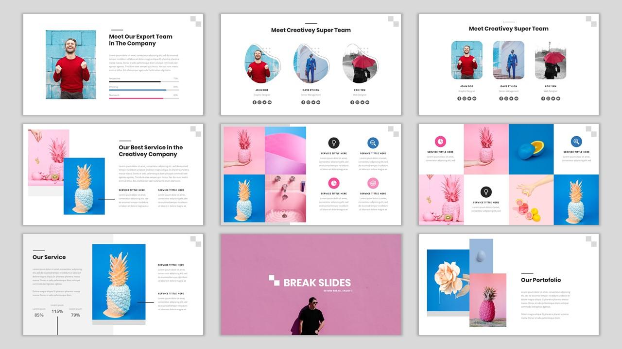 Creativey - Simple Color Pop Business PowerPoint Template