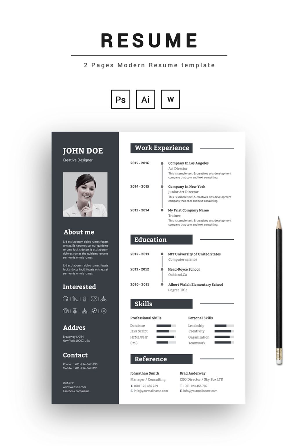 2 pages modern resume template 67396