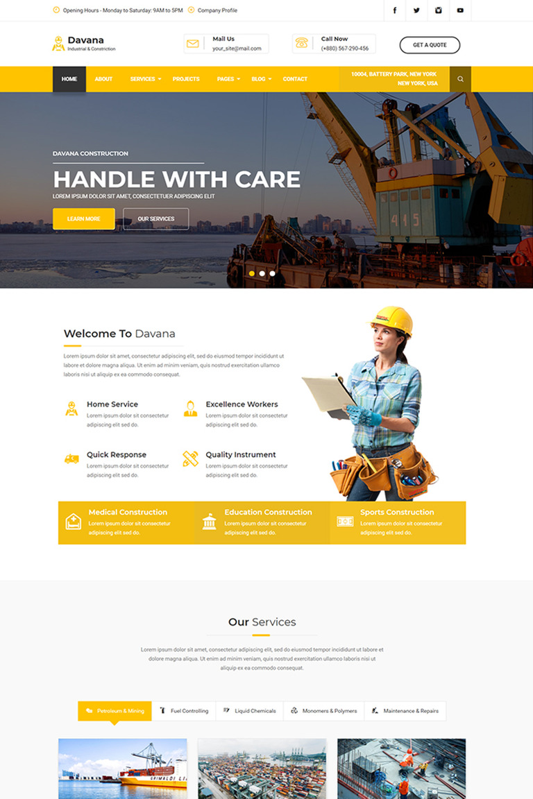 Davana Responsive Industrial Business Html Website Template 67725
