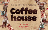 """Coffee House PNG Watercolor Set"" Bundle"
