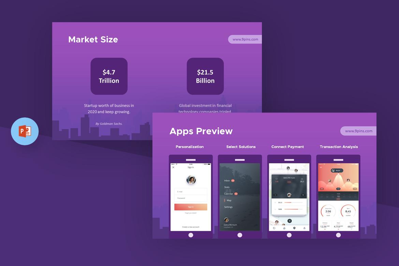 fintech startup powerpoint template  67621