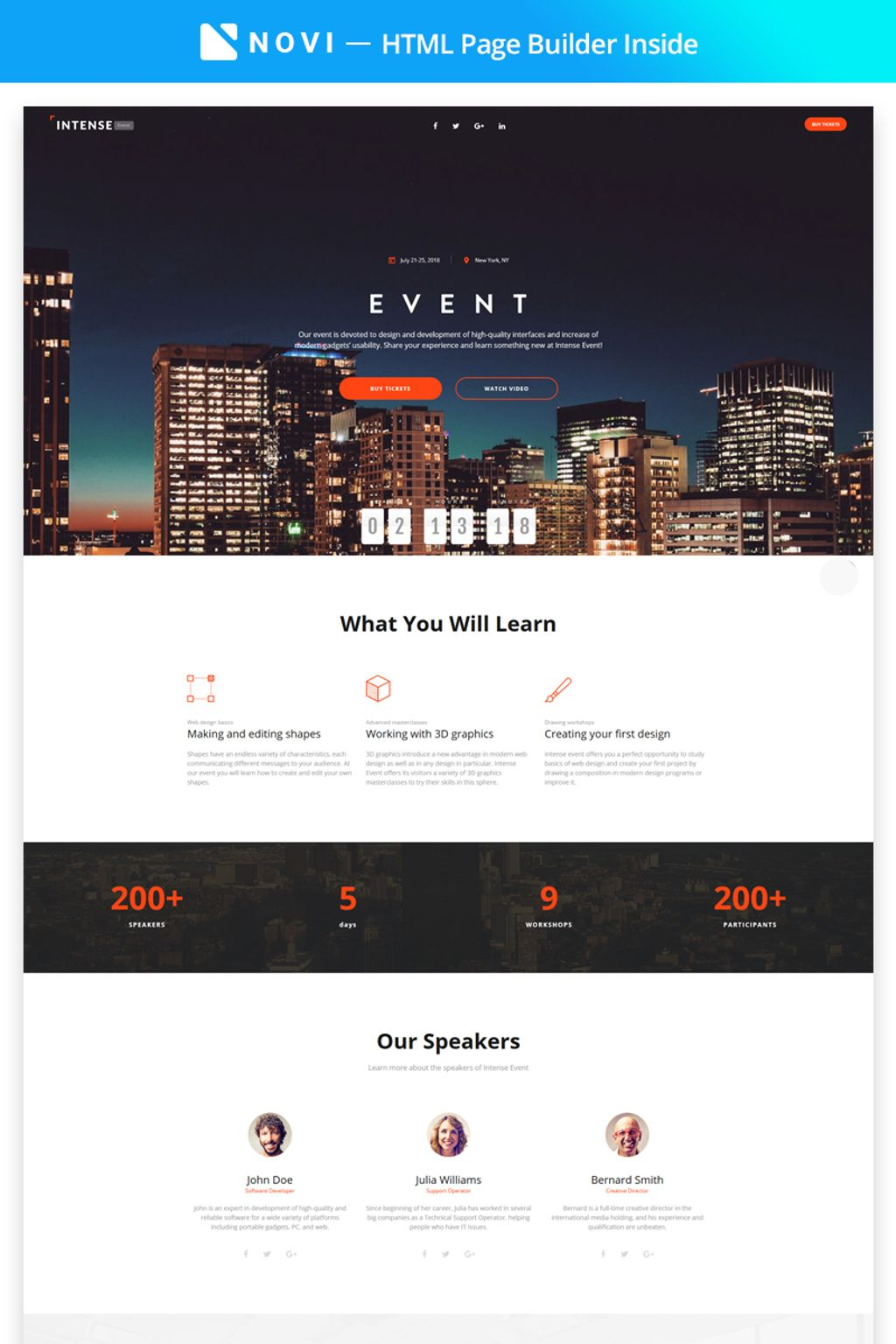 Landing Page Event Planner HTML5 Template
