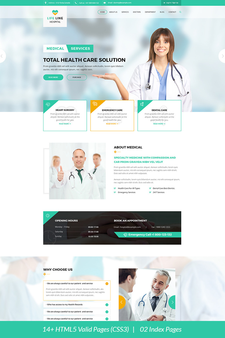 Life Line Hospital And Health Website Template 67698