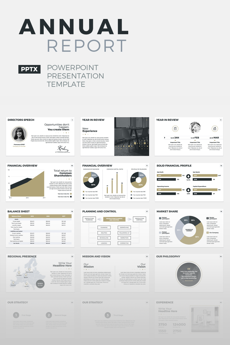 annual report powerpoint template 64679