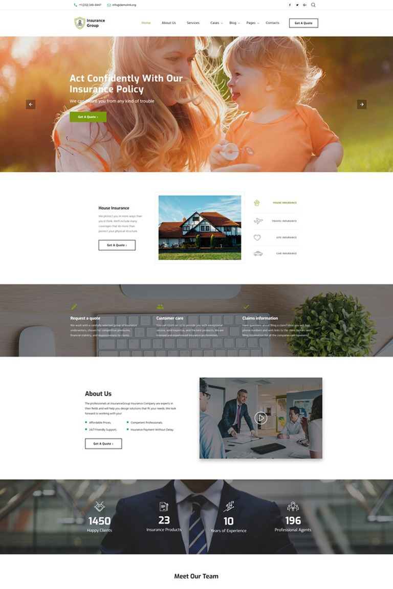 Insurance Conpany Multipage Html Template